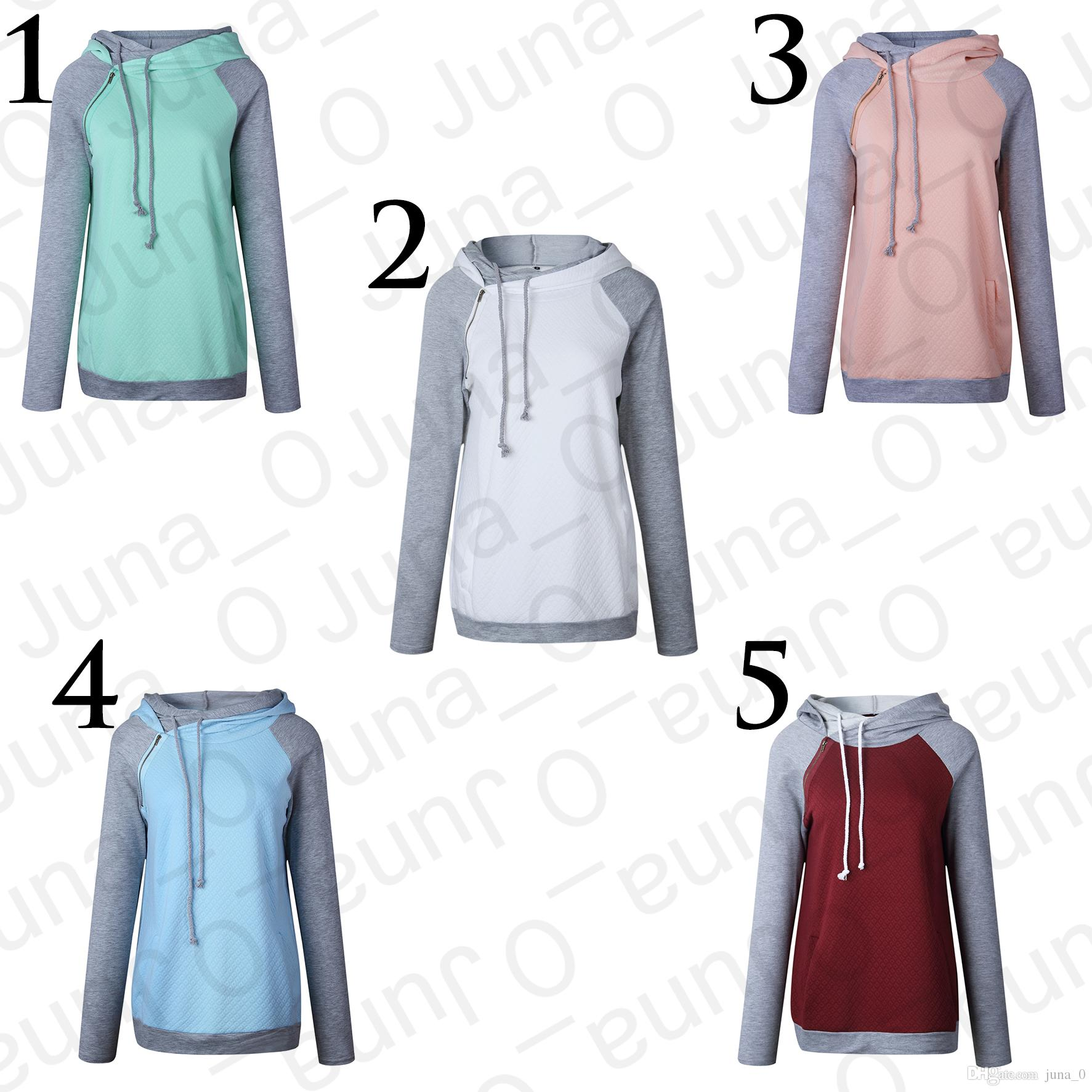 6d02112d26f Newest Women Long Sleeve Hoodie Women s Double Hooded Cotton Stripe T Shirt  Funnel Neck Banded Bottom Casual Pullover Sweatshirt with Pocket Women s  Hoodies ...