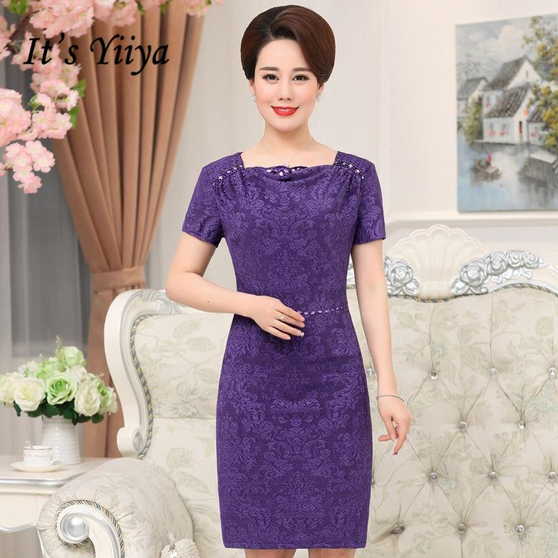5074fb261e0 It S Yiiya Mother Of The Bride Dresses Plus Size Purple Short Sleeve Pearls Fashion  Designer Elegant Mother Dress M056 Tall Mother Of The Bride Dresses ...
