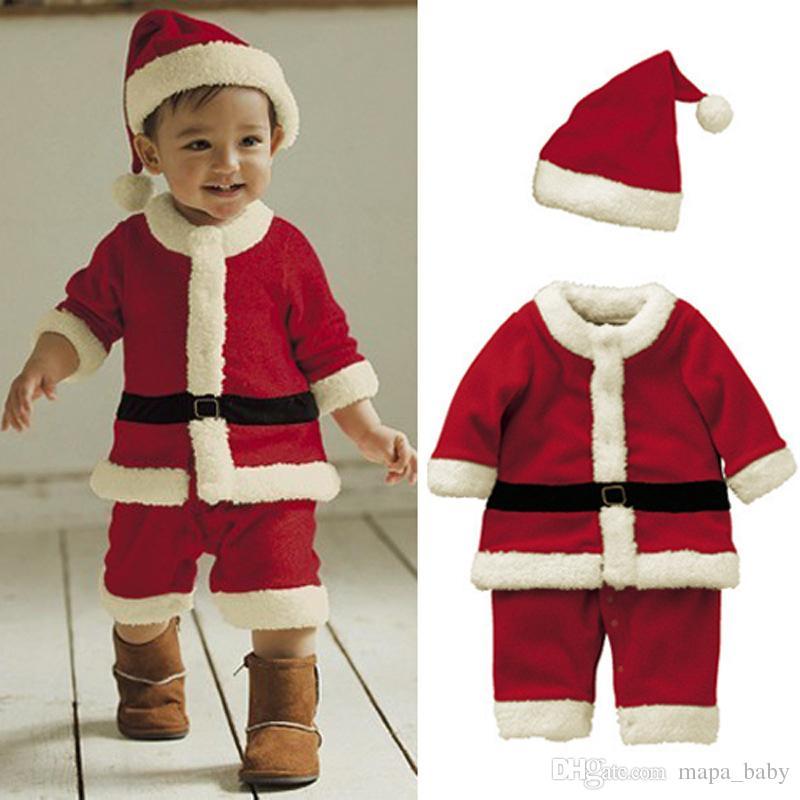 f4d89b55b0e2 2019 Christmas Santa Bodysuit Baby Boys Girls Jumpsuits Infant Xmas ...
