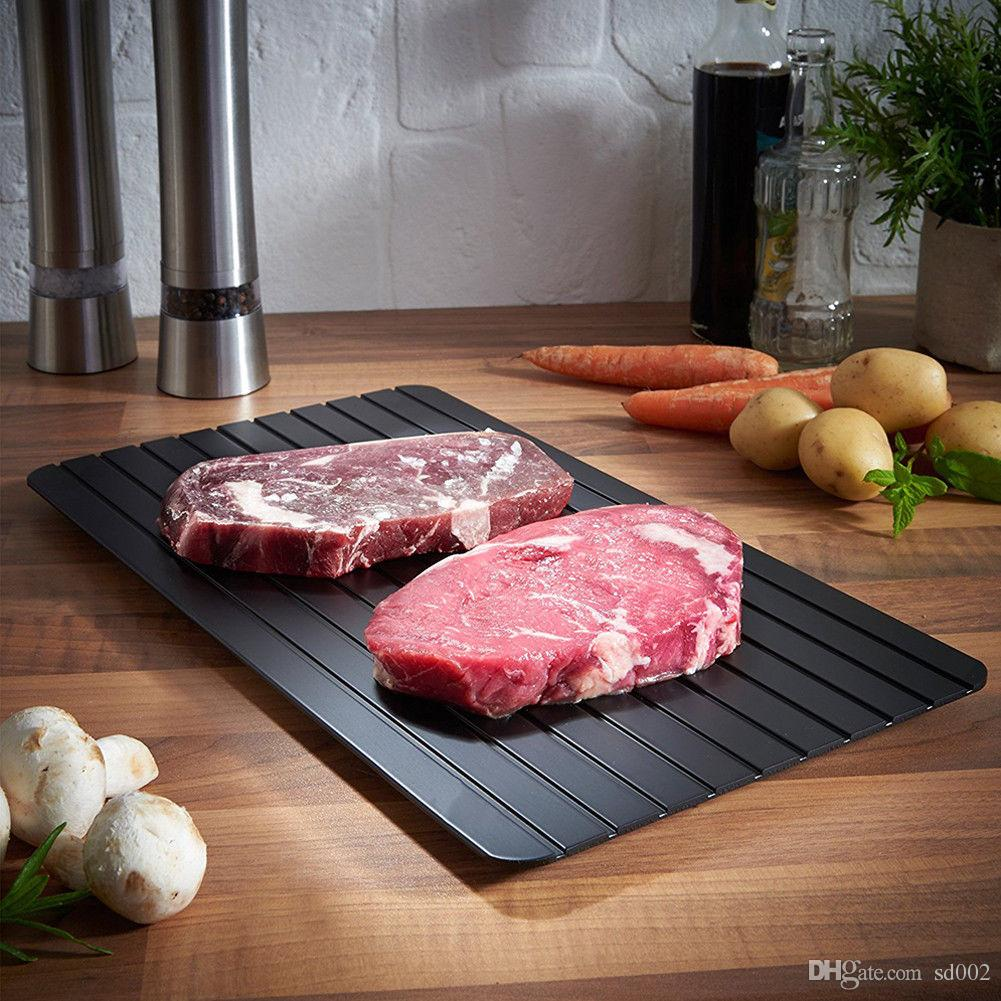 Black Fast Thawing Plate Square Defrost Meat Frozen Tray Safety Metal Aluminum Mat Kitchen Tools For Home 35yy BZ