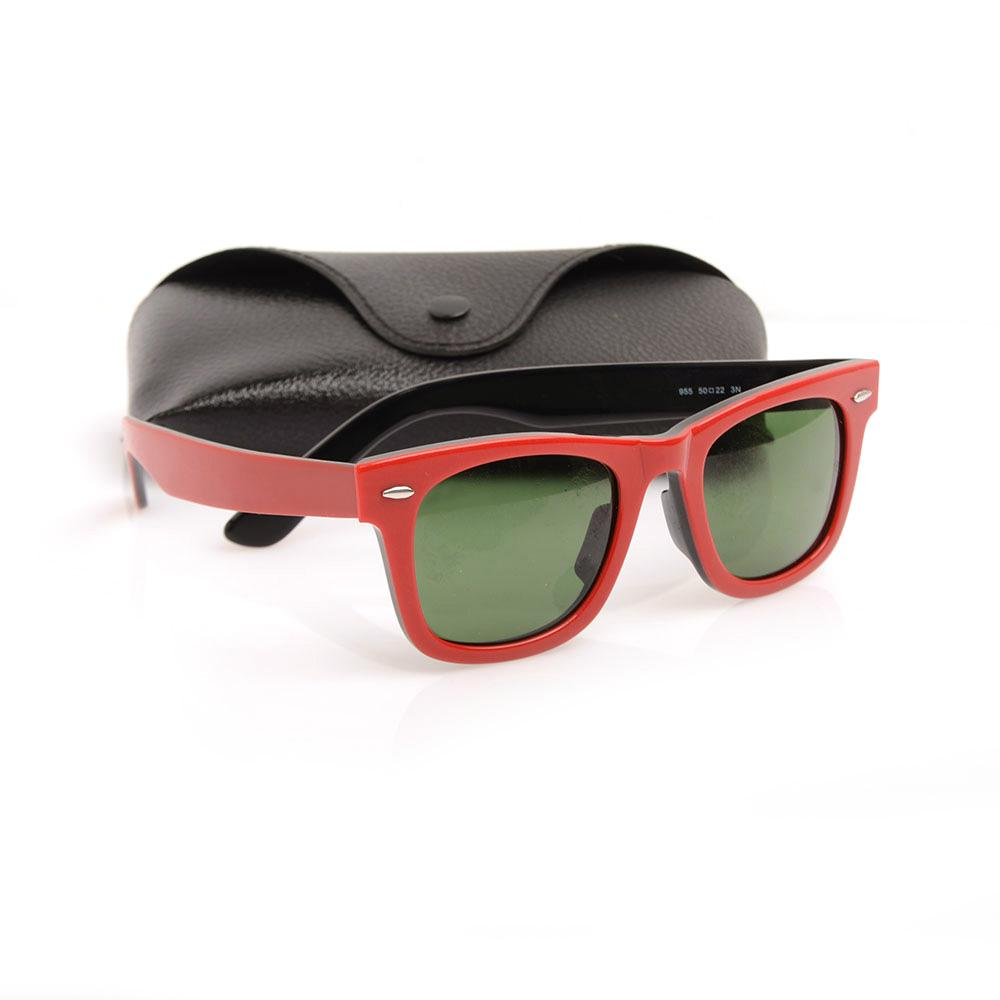 Hot High Quality Plank Sun glasses Red black Frame Green Lens Sunglasses Metal hinge Sunglasses Mens Womens Sunglasses unisex Sun glasses