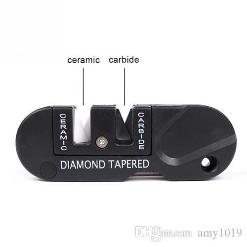 Nueva marca portátil de tres etapas de carburo de diamante afilador de cuchillos de bolsillo al aire libre herramienta EDC Gancho de pescado Profesional Mini piedra de afilar