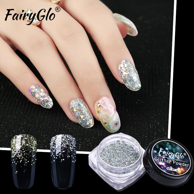 Fairyglo 10ml Black White Nail Gel 1g Box Bling Nail Glitter