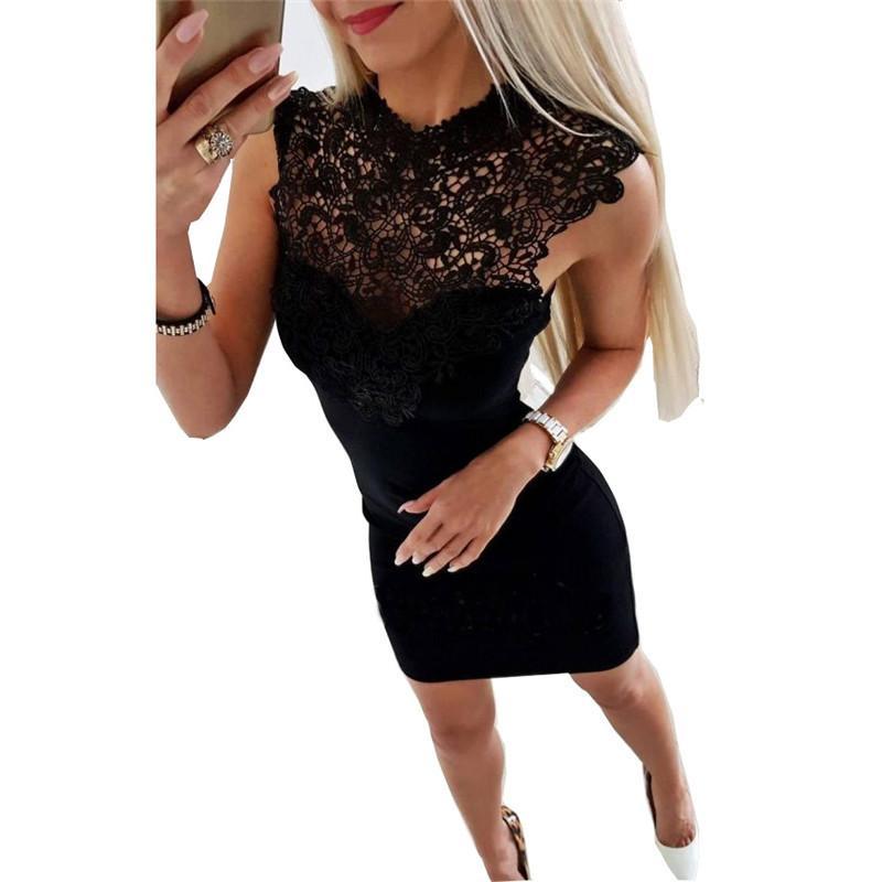 36a88844855 LOSSKY Summer Dress 2018 Women Sexy Club Slim Fit Lace Splicing Mini Dress  Black White Casual Bodycon Party Dresses Vestido Wrap Dresses Plus Size  Evening ...