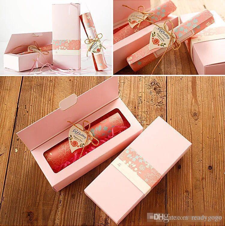 2018 Carta europea classica Carta bigliettini matrimonio rosa taglio arrossato rosa Invito personalizzabile con foglio interno bianco e scatola