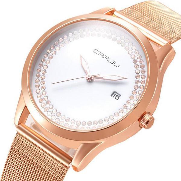 Grosshandel Frauen Diamant Besetzt Uhr Stieg Gold Damenuhren