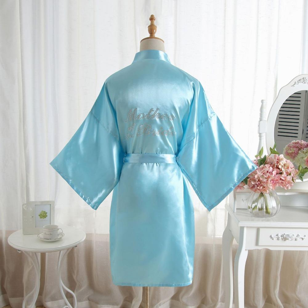c541cd9888 2019 Mother Of The Bride Robe On The Back Wedding Robe Silk Satin Kimono  Fashion Night Short Dressing Gown For Women From Douban