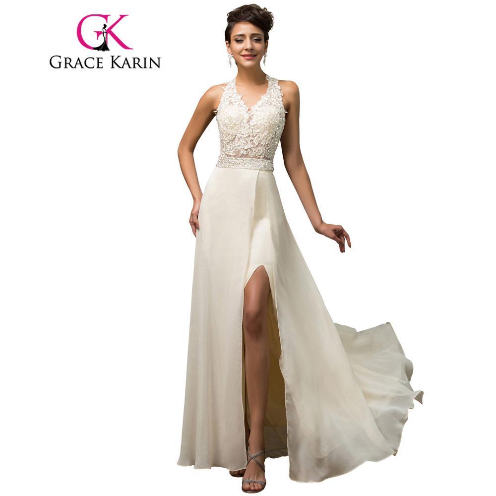 1fdc0cdfa7f Halter Grace Karin Luxury Elegant Evening Dress Open Back Beige Sequin Beading  Long Formal Gown Chiffon Split Evening Dress 2018 Online with  113.34 Piece  ...