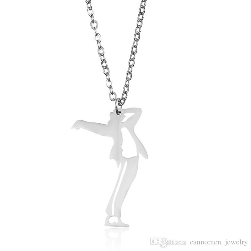 مايكل جاكسون قلادة قلادة الوقوف الرقص الموقف الفولاذ المقاوم للصدأ الذهب لصديقها الرجال هدية سحر المجوهرات بالجملة