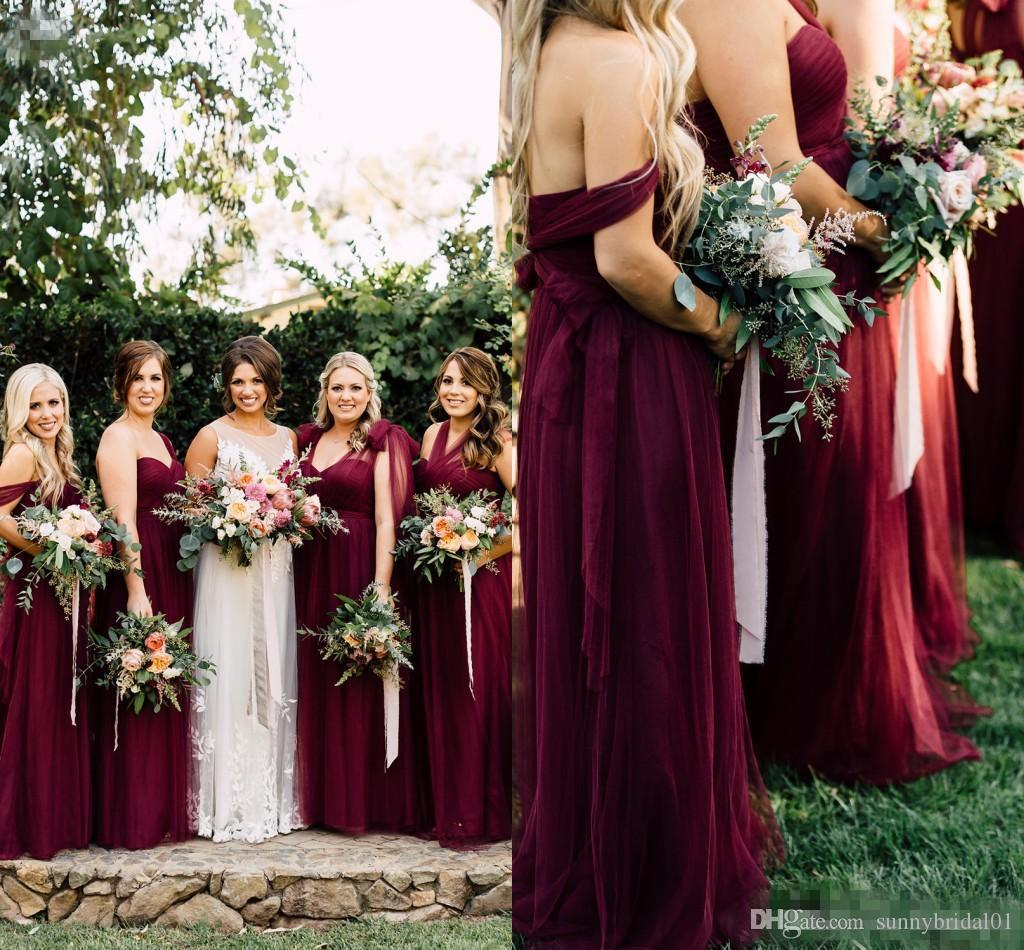 2018 modest burgundy tulle long country bridesmaid dresses ruched 2018 modest burgundy tulle long country bridesmaid dresses ruched off shoulder florals autumn garden wedding party guest junior gowns aqua blue bridesmaid ombrellifo Gallery