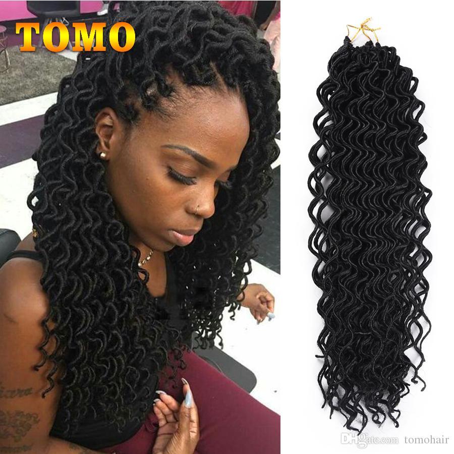 2019 Goddess Faux Locs Curly Braided Black Blonde Crochet Hair