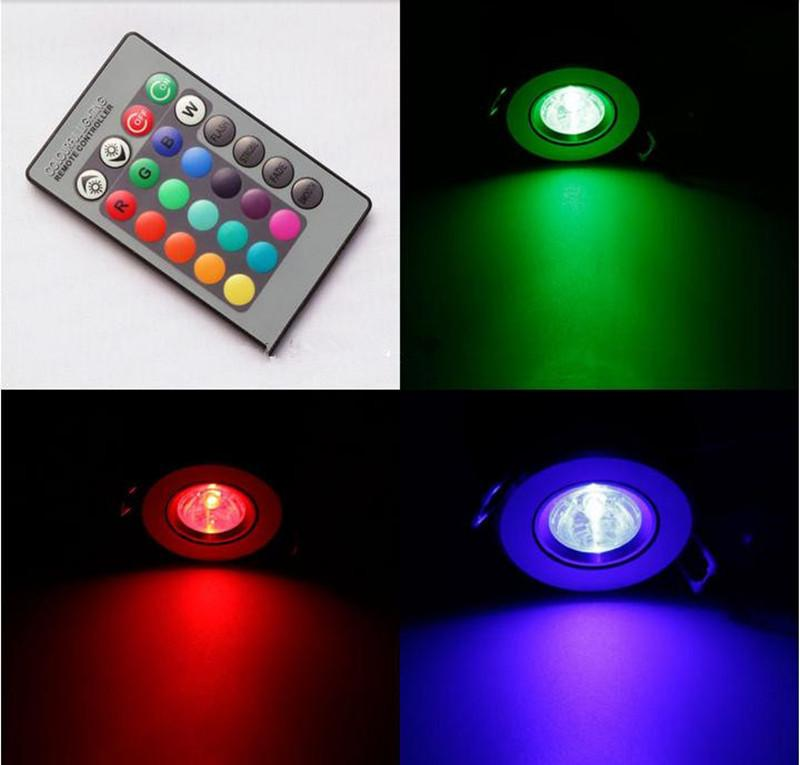 1 adet RGB Downlight 3 W LED Tavan Aşağı Işıklar Gömme LED RGB Downlight AC85-265V sürücü ve 24 Tuşları IR Uzaktan ile