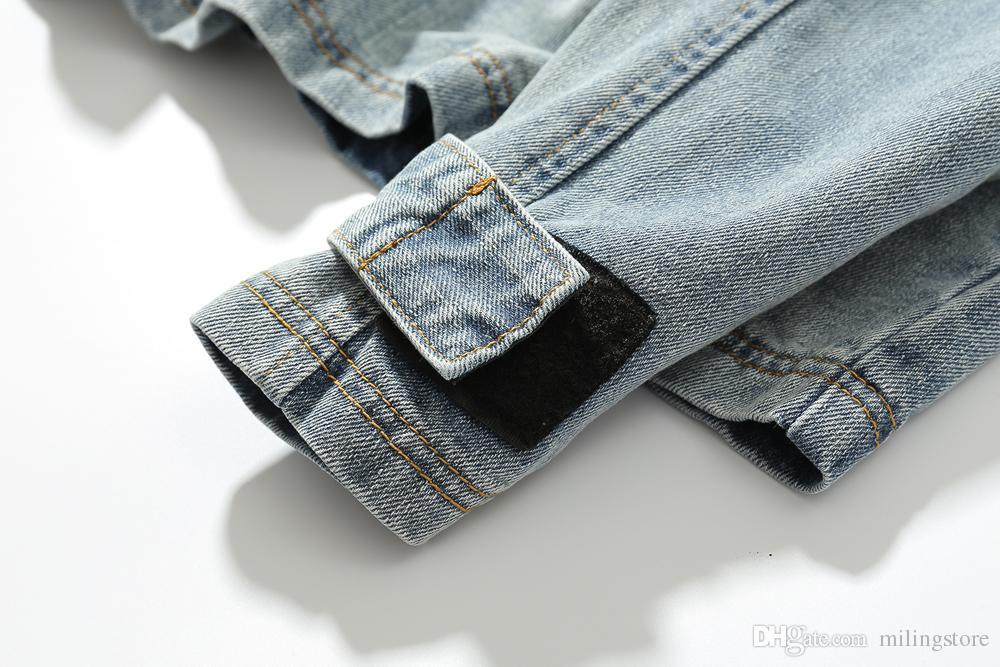 Jeans con cappuccio Giacche strada alta calda giacca blu degli uomini di Hip Hop di stile degli uomini del cappotto casuale di vendita caldo rivestimento dei jeans del progettista degli uomini
