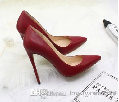 c7be0c2aa0 free shipping 12cm High Heels Shoes Red Bottom Nude Color Genuine Leather  Point Toe Women Pumps Rubber Wedding Shoes 511