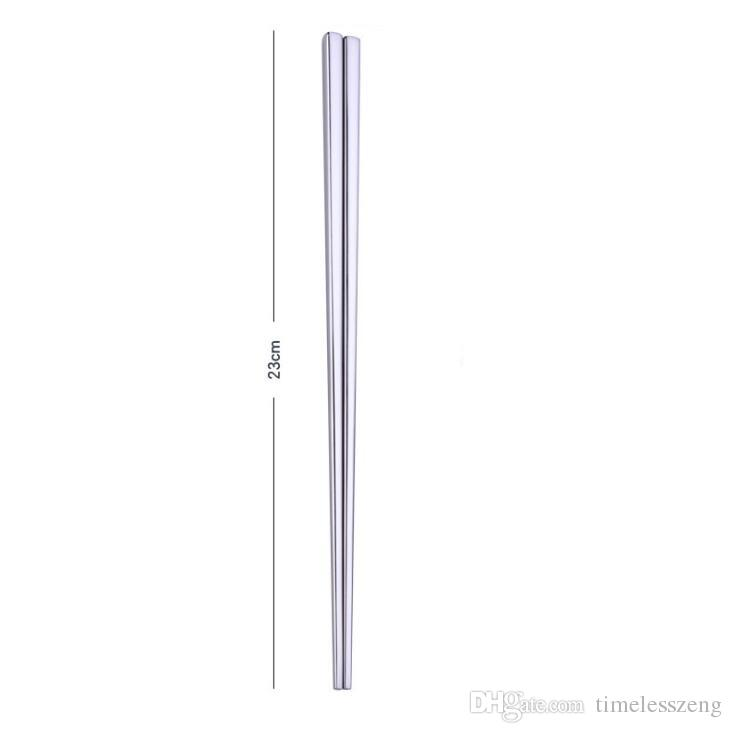 High grade 304 stainless steel chopsticks square chopsticks flatware home hotel simple style tableware