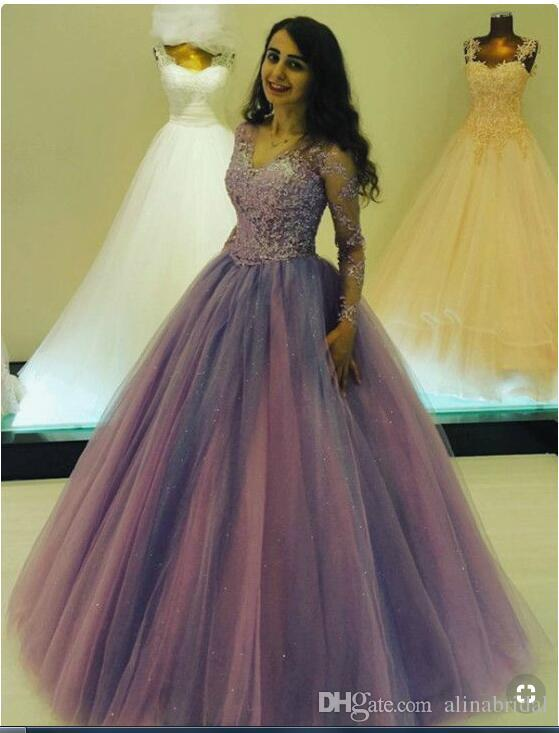 0627939999edd Discount 2019 Sexy Lace Long Sleeves Wedding Dresses Plus Size Long Sleeves  Corset Beaded Deep V Neck Light Purple Bridal Gowns Custom Made Simple  Vintage ...
