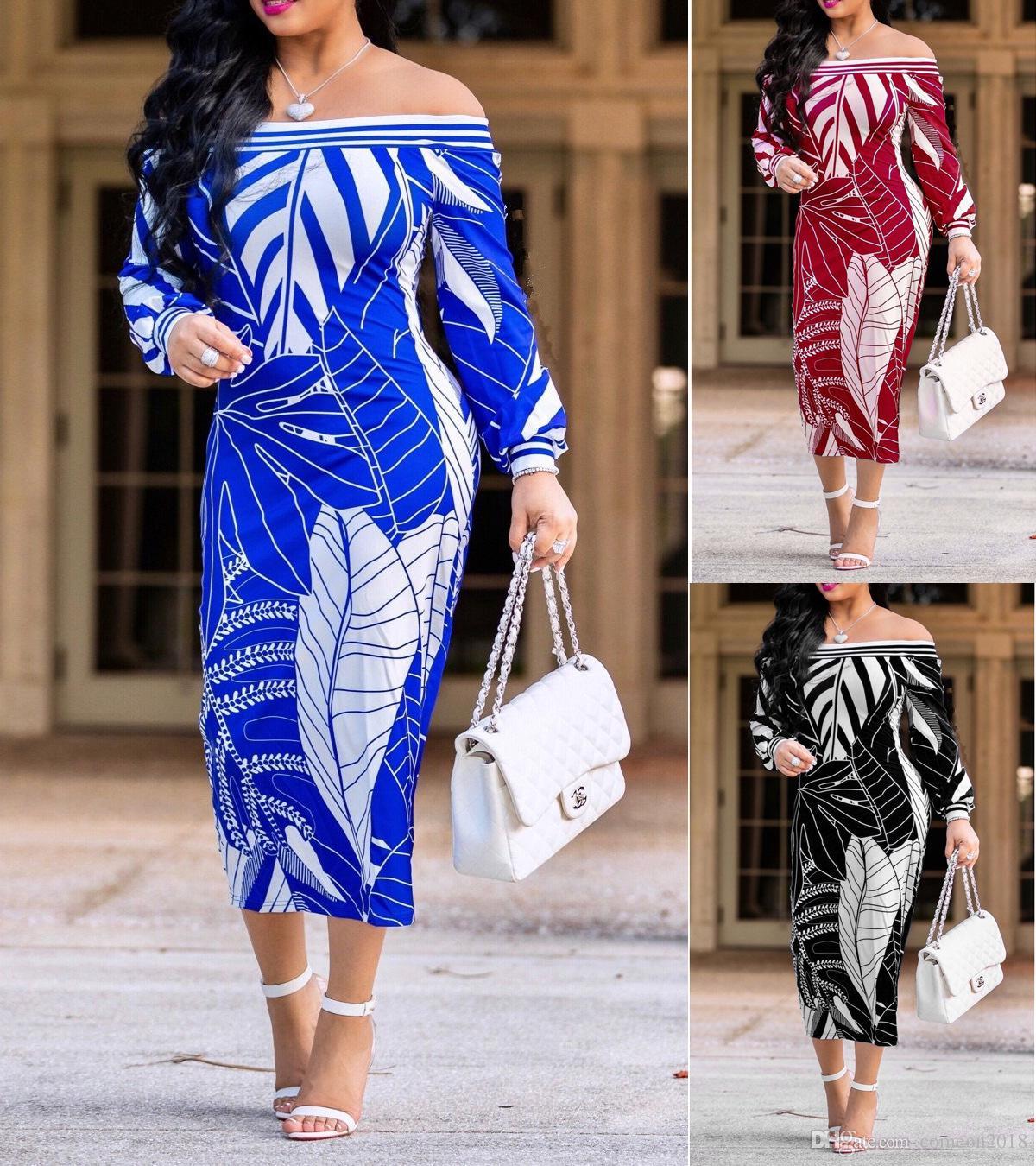 50f4560ba87a Women Clothes New Style Long Sleeve Print Bodycon Dress Vintage Slash Neck Midi  Dress Sexy Popular Ladies Dresses Off Shoulder Wrap Dresses Junior Cocktail  ...