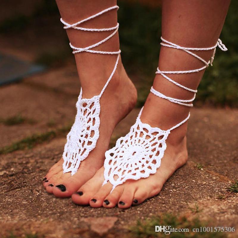 Tığ Gypsy Lolita Ayakkabı Kadınlar Barefoot Sandalet, Çıplak ayakkabı, Plaj düğün Ayakkabıları, Gelin Aksesuarları.