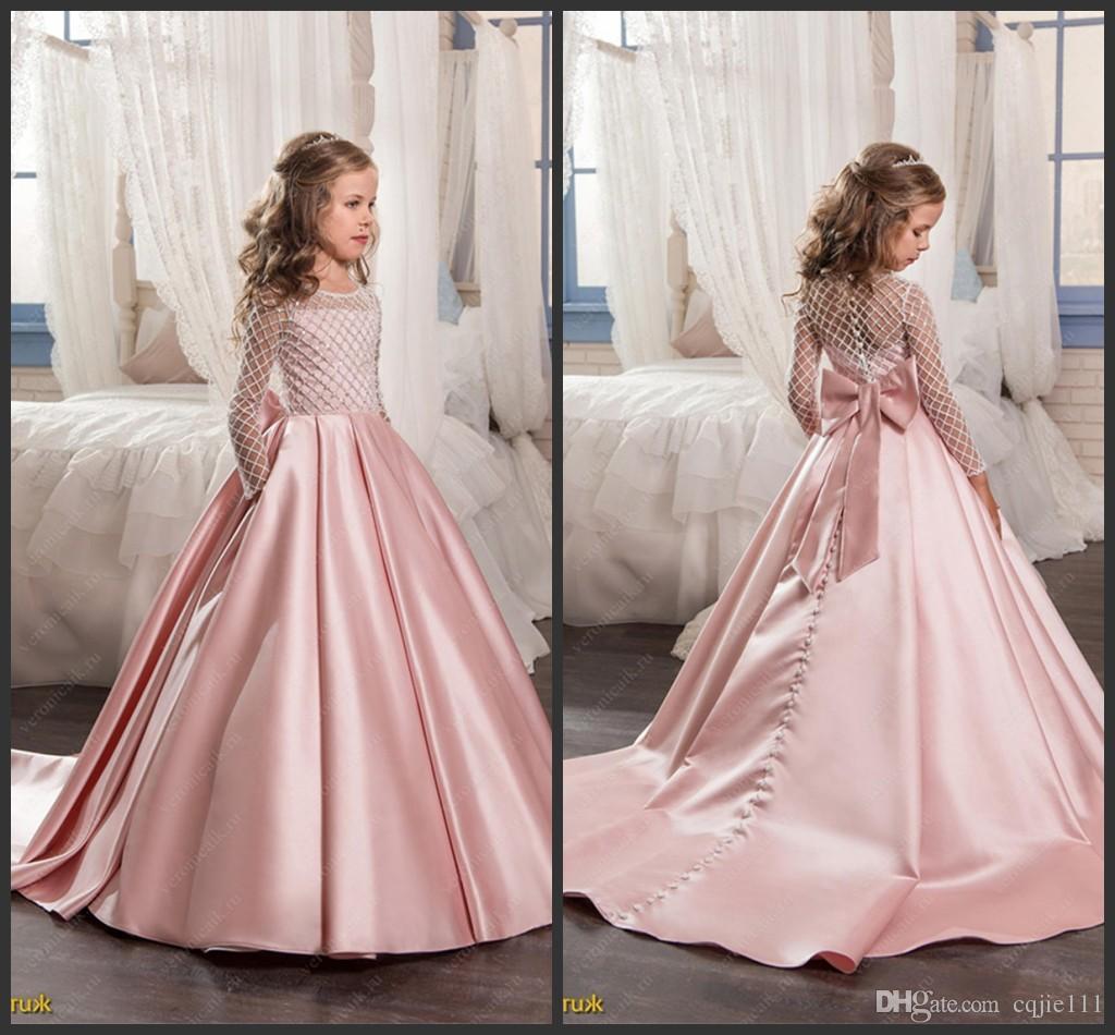 Gowns For Girls: 2019 New Blush Pink Flower Girl Dresses Satin Kids Evening