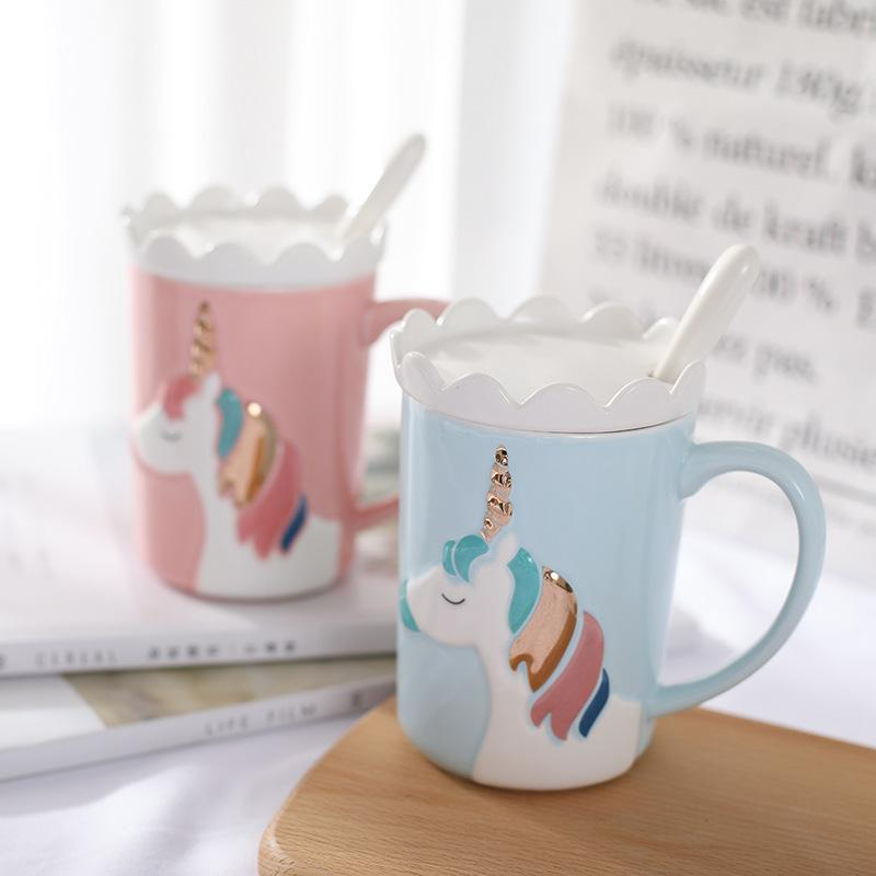 Creative 3D Relief Unicorn Ceramic Coffee Mug With Crown Lid Spoon Cute Cartoon Milk Coffee Water Cup With Handle Pink Gift