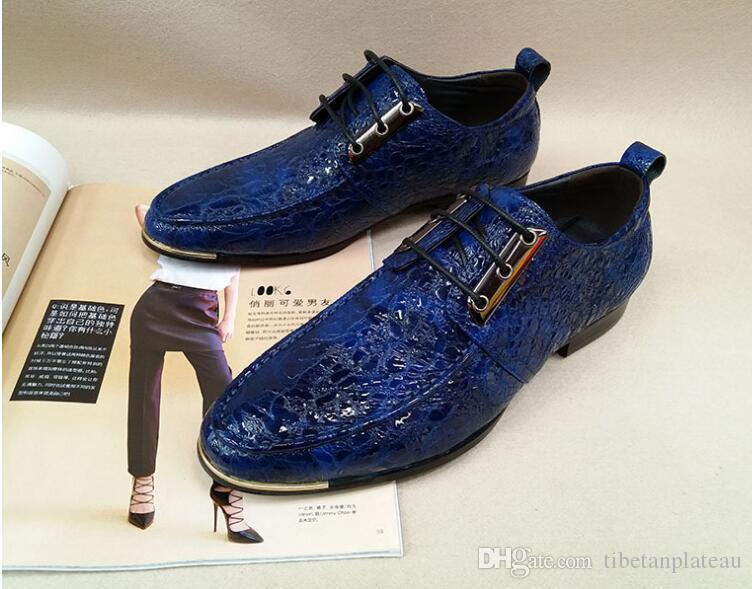 babaada714 Scarpe eleganti da uomo in vera pelle scarpe con i tacchi Stringate con  lacci Vernice antirughe Tacco basso Blu scuro Scarpe casual eleganti per ...