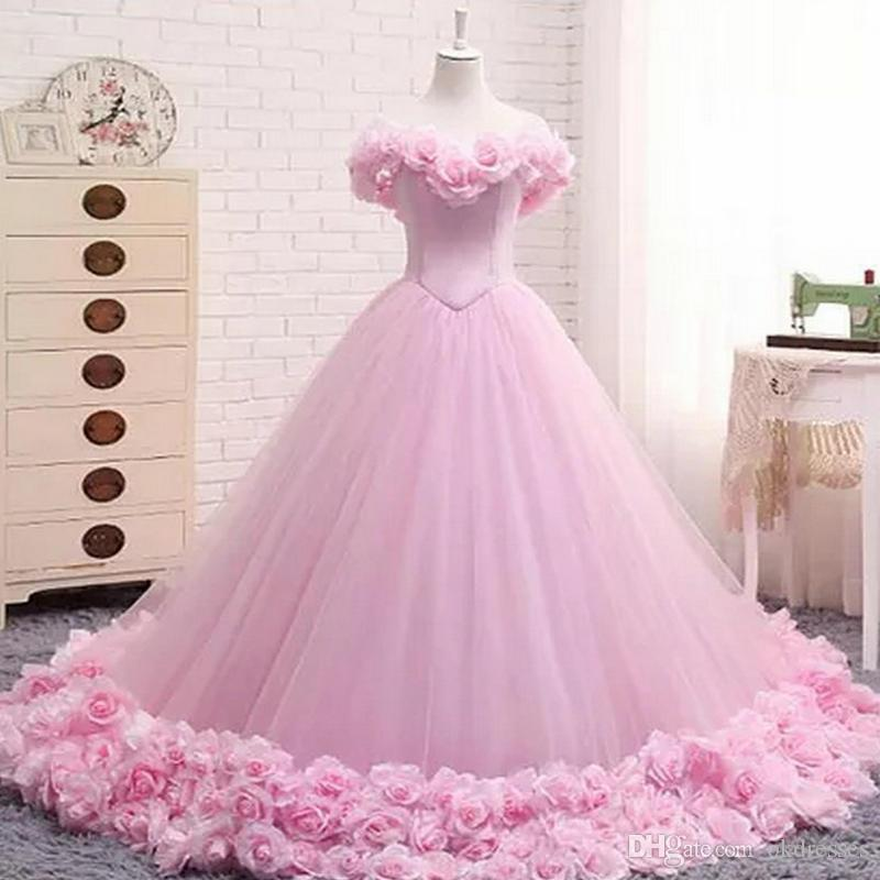 ddbe6dff450 New Puffy Pink Quinceanera Gowns Princess Cinderella Formal Long Ball Gown  Bridal Weddings Dresses Chapel Train Off Shoulder 3D Flower 408 Cheap  Purple ...
