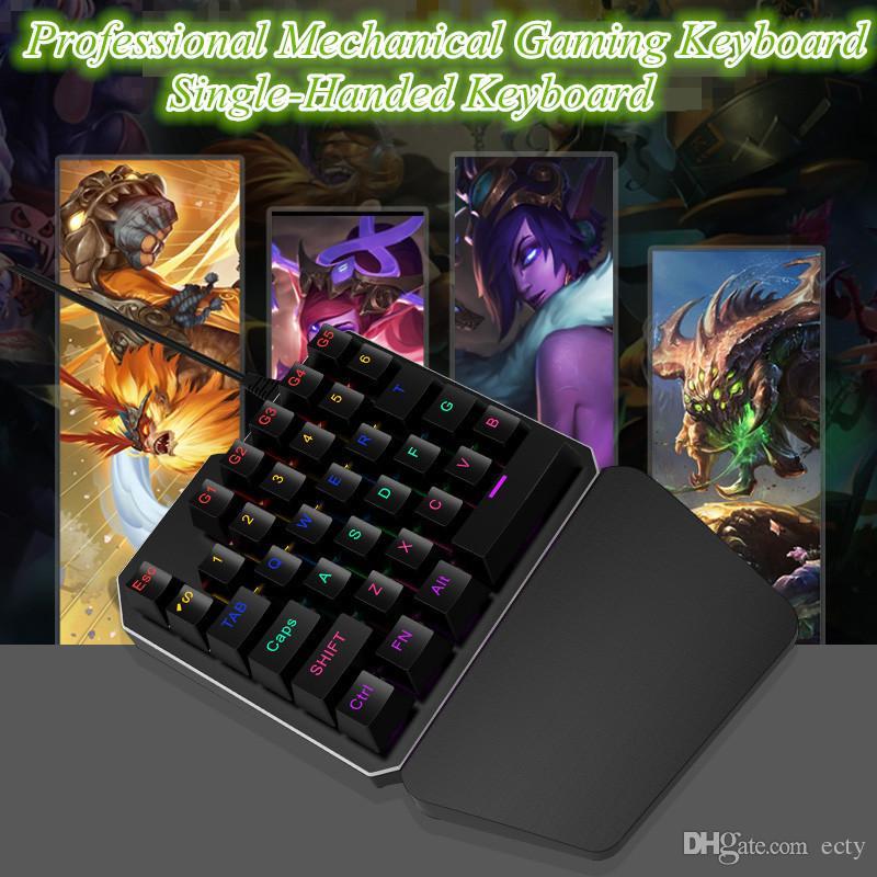 New! Wired Mechanical Gaming Keyboard One Hand Keyboard Professional Single-Handed mechanical Gaming Keyboard RGB LED Backlit Free ship