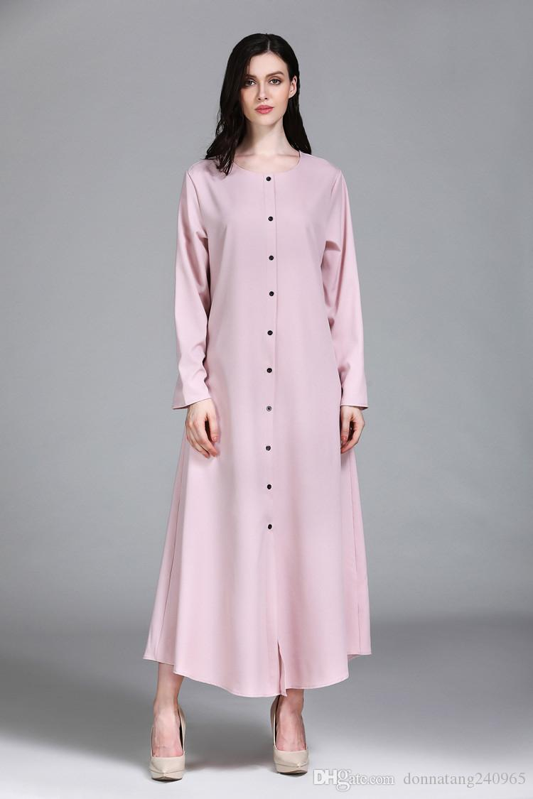 Women Casual Arab Maxi Robes Muslim Dress Islamic Abaya O Neck Turkish Clothing Musulmane Thobe Dubai Kaftan Kimono Open Front Button