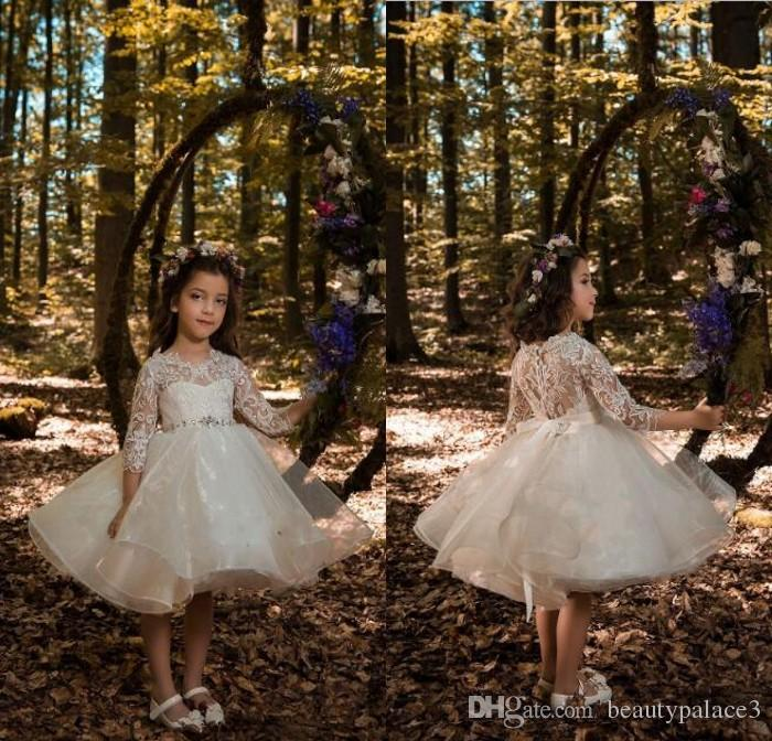 d97575f501bbc 2018 New Lovely Ivory Princess Flower Girls Dresses for Weddings Crew Neck  Lace Long Sleeves Knee Length Pageant Gowns for Little Girl