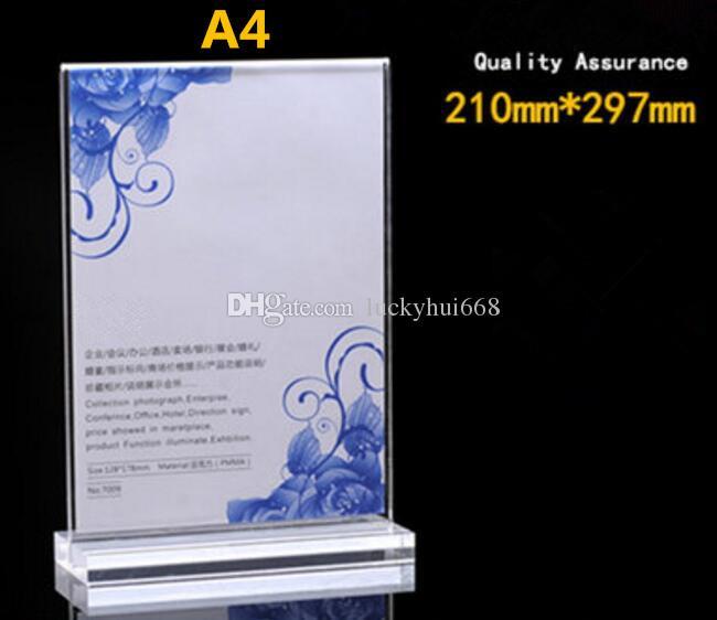 Multifuncional A4 T tipo acrílico poster tag lista menu titular claro frente e verso display frame da placa de mesa KTV restaurante do hotel rack de etiqueta de mesa