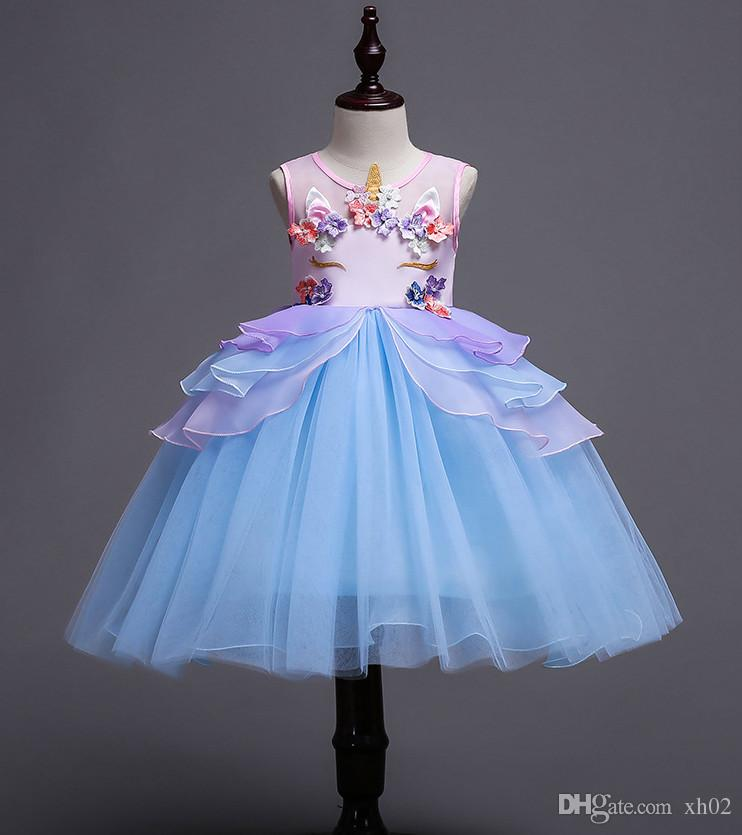 New Kids Pageant Evening Gowns 2018 Unicorn Ball Gown Flower Girl Dresses  For Weddings First Communion Dresses For Girls Flowergirl Dresses Uk Girl  White ... c220b3887f10