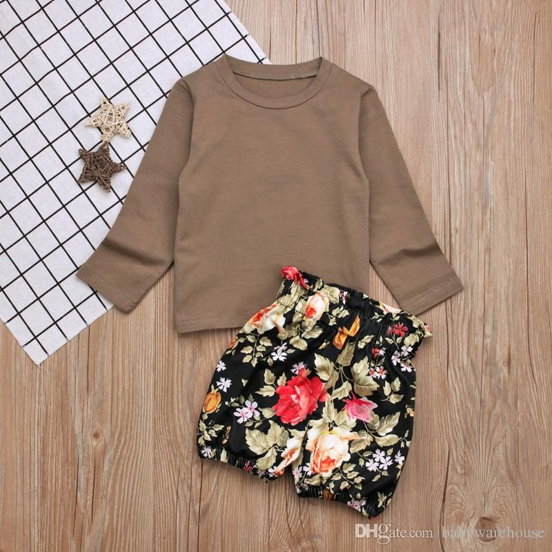Girls Clothes 2018 New Spring Summer Kids Clothes Set Long Sleeve T-shirt Tops + Floral Shorts Pants Girls Outfits Set Clothing 2-7T