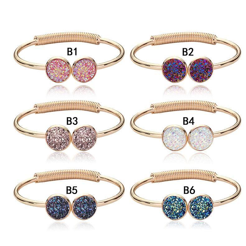 Women Druzy Natural Geode Stone Bangles Rhinestone Crystal Bracelet Jewelry Gift