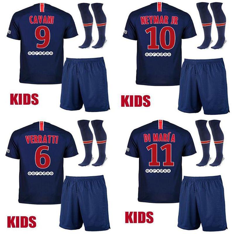 9b0bbf165 2019 New 2018 2019 Psg Kids Kit Soccer Jerseys 18 19 Neymar Jr Mbappe Home  VERRATTI CAVANI DI MARIA MAILLOT DE FOOT Child Survetement Psg SHIRT From  ...