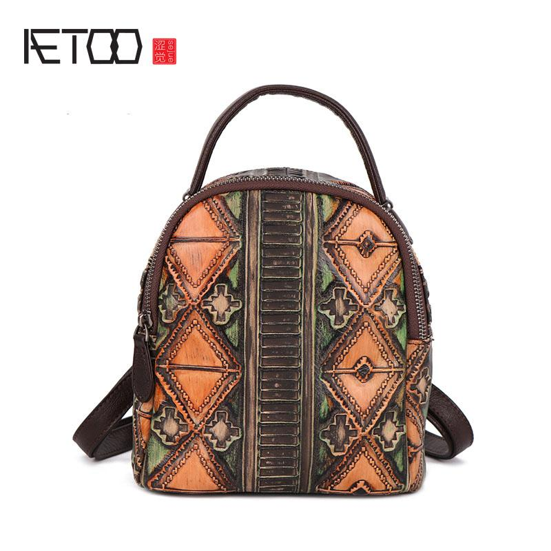 4f3a28e74e52 AETOO New Retro Cowhide Women S Shoulder Bag Casual Leather Multi Purpose Small  Backpack Shoulder Bag Mochilas Jansport School Backpacks From Sophine15