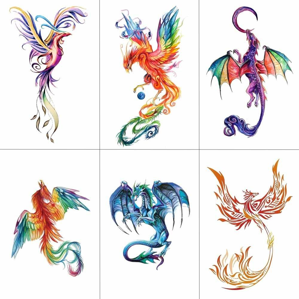 TCOOL Colorful Watercolor Phoenix Dragon Temporary Tattoos For Kids Women  Hand Tatoo Sticker Body Art 9.8X6cm A 114 Metallic Temporary Tattoo  Realistic Fake ... 7375a57f6