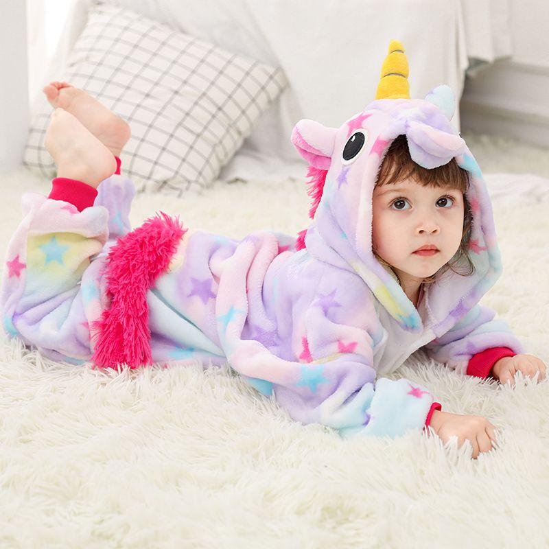 1816fd0e1 Girls Boys Winter Kigurumi Pajamas Unicorn Cartoon Anime Animal Onesies  Sleepwear Coral Fleece Warm Jumpsuit Children Pajamas Y18102908