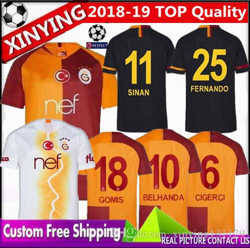 2019 FREE Ship 2018 2019 New Galatasaray Soccer Jersey Home Champions  League 18 19 Away 3rd CIGERCI BELHANDA FERNANDO FEGHOULI FOOTBALL Kit SHIRT  From ... 2ac9d6913