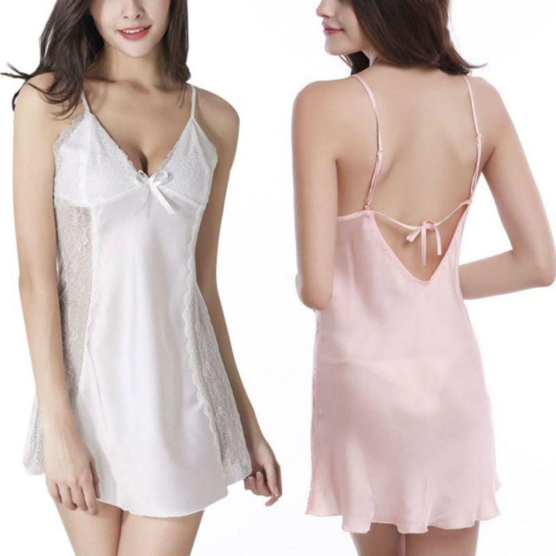 Summer Women Sexy Lace Nightgowns Solid Satin Chiffon Nightdress Sleepwear Nightwear