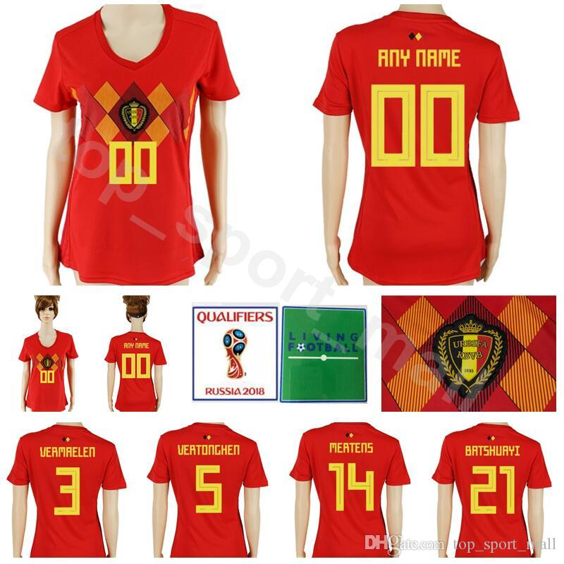 a4d502cdb9c 2019 Belgium Women Soccer Jersey 2018 World Cup 3 VERMAELEN 14 MERTENS 15  MEUNIER 5 VERTONGHEN 21 BATSHUAYI Football Shirt Kits Lady Woman Red From  ...