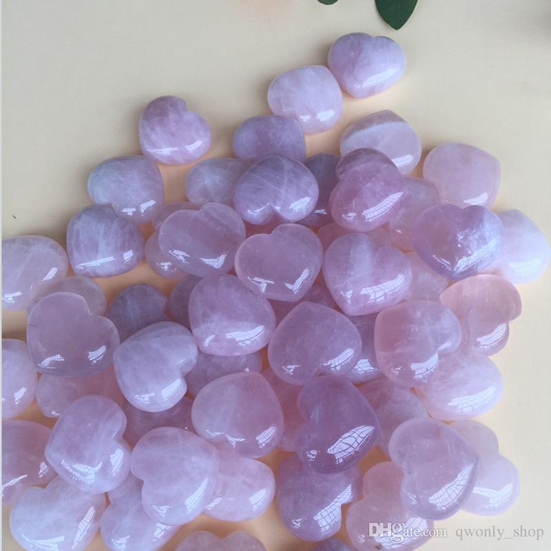 Cuarzo rosa natural en forma de corazón rosa cristal tallado Palm amor curativo piedra preciosa amante Gife piedra cristal corazón gemas
