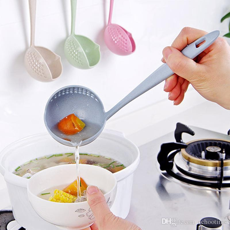 Chegada nova Multifuncional 2 em 1 Longo Lidar Com Colher de Sopa Colheres de Mingau Colander com Filtro Talheres Acessórios de Cozinha