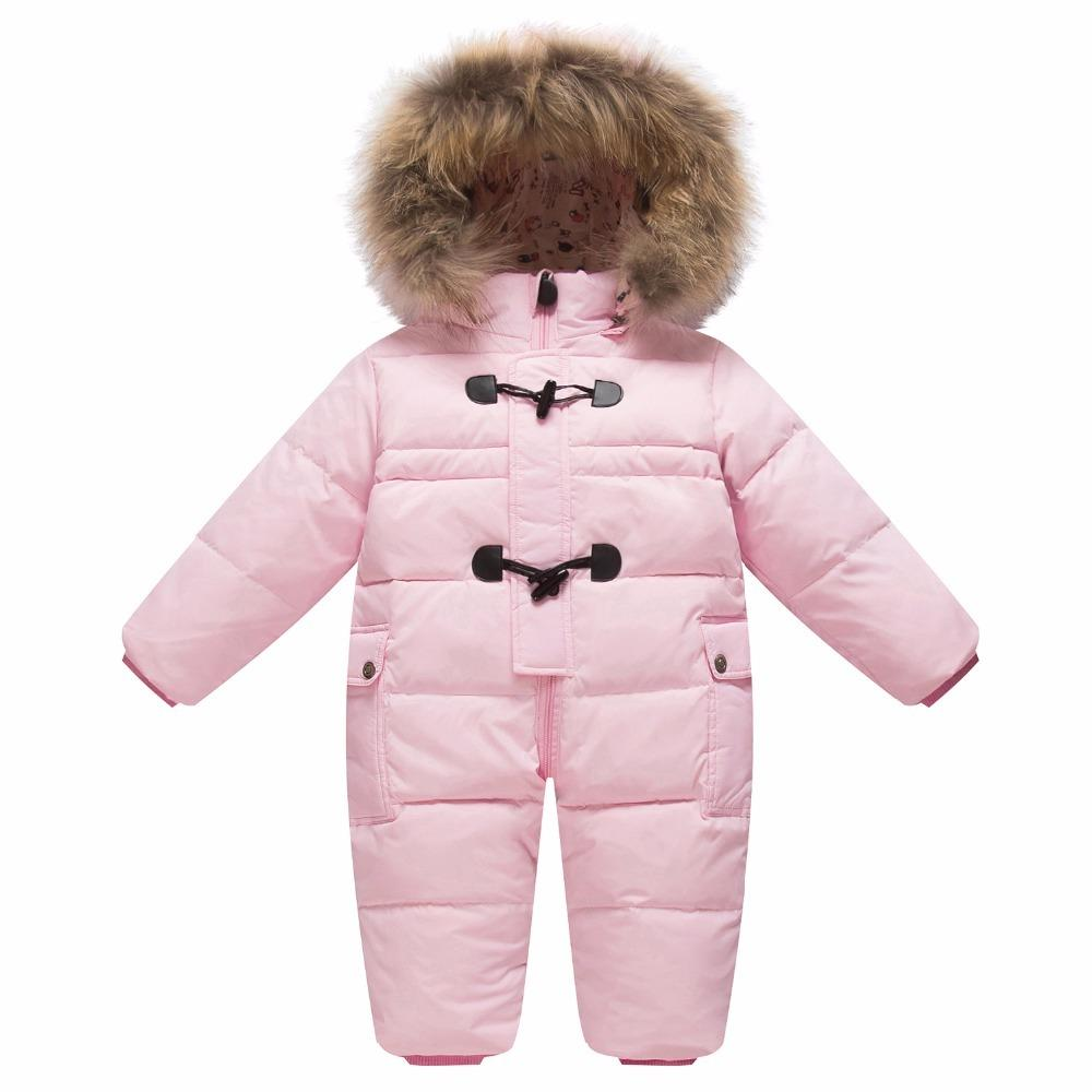 d6c0103bf Children's winter jumpsuit for girls boys baby wear romper infant hooded duck  down jacket fur collar newborn coat snow clothes Y18102208