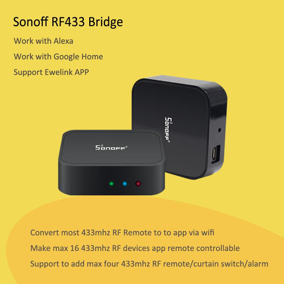 New Sonoff RF Bridge WiFi 433 MHz Replacement Home Automation Universal  Switch Intelligent Domotica Wi-Fi Remote RF Controller