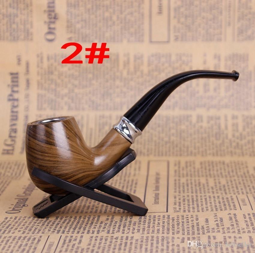 Großhandelshandgemachtes dauerhaftes klassisches hölzernes glattes Standardkamin Rauchendes Tabak-Rohr verbog Art schwarze Farbgeburtstagsgeschenke preiswerter Verkauf