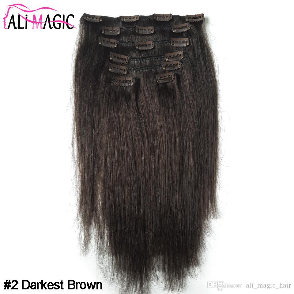 مقطع الشعر الألوان في مقطع ريمي الشعر الإنسان رئيس الامتدادات كاملة مستقيم 100G 10inch ل-24inch ضعف الانتباه الطبيعة البشرية الشعر
