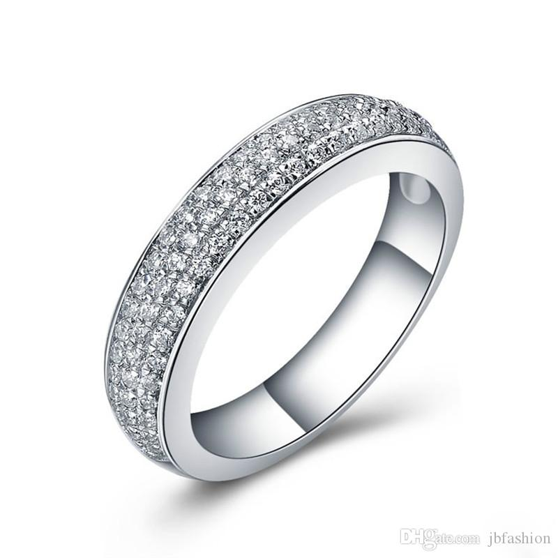 Quality Semi Mount Synthetic Diamond Wedding Band Ring Sterling Silver Marriage Band Rings for Women Anniversary Jewelry White Gold Covered
