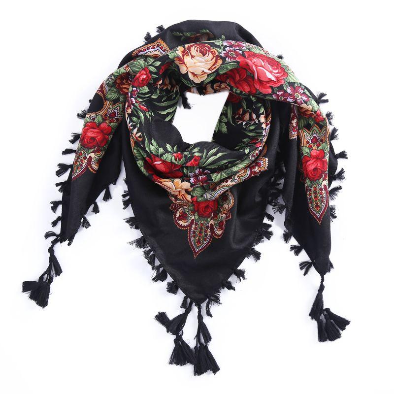 2017 New Russian Ethnic Style Square Shawl andmade Cotton Print Muslim  Women Brand Scarf Tassel Headband Global Selling