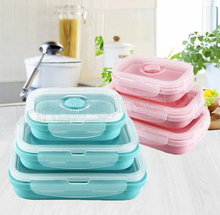 ef983bc67f98 3pcs Silicone Folding lunch Box set Collapsible Portable Food Grade  silicone food container Bowls For Children Adult GGA567 6Ssets
