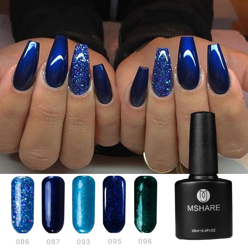 MSHARE Bling Glitter Deep Blue Black Gray Nude UV Gel Nails UV Gel Nail  Varnish Vernis Semi Permanant Lak Lacquer